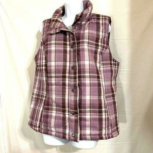 Bandolino Womens Purple Plaid Quilted Vest Size XL